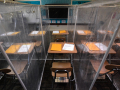Partitions made from clear shower curtains and PVC pipe separate desks in Rene Black's fourth grade classroom at Abilene's Texas Leadership Charter Academy Tuesday August 11, 2020. The barriers are to prevent children from potentially spreading coronavirus to classmates when school resumes later this month.