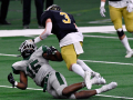 Franklin defensive back Bryson Washington falls after breaking up a pass meant for Canadian wide receiver Twister Kelton during Thursday's Class 3A Division II state title game at AT&T Stadium Dec. 17, 2020. Final score was 35-34, Canadian.