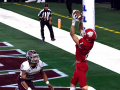 Jim Ned wide receiver Zach Henderson catches a two-point conversion pass in overtime, winning the Class 3A Division I state championship against Hallettsville Thursday at AT&T Stadium Dec. 17, 2020. Final score in overtime was 29-28, Jim Ned.
