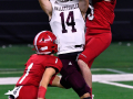 Jim Ned defensive back Troy Doran breaks up a pass meant for Hallettsville wide receiver Luke Bludau during the Class 3A Division I state championship Thursday at AT&T Stadium Dec. 17, 2020. Final score in overtime was 29-28, Jim Ned.