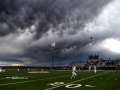 Clouds hang low over Spieker Stadium in Hermleigh during kickoff in Saturday's football game between Abilene Christian High School and Lubbock Kingdom Prep Dec. 5, 2020. Scurry County was the halfway point for two teams who were playing in the Division III Six-Man state quarterfinal game.