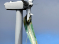 A damaged blade hangs from a wind turbine Friday near Nolan March 20, 2020. Two damaged wind turbines were observed in the path of Thursday's tornado thunderstorm.