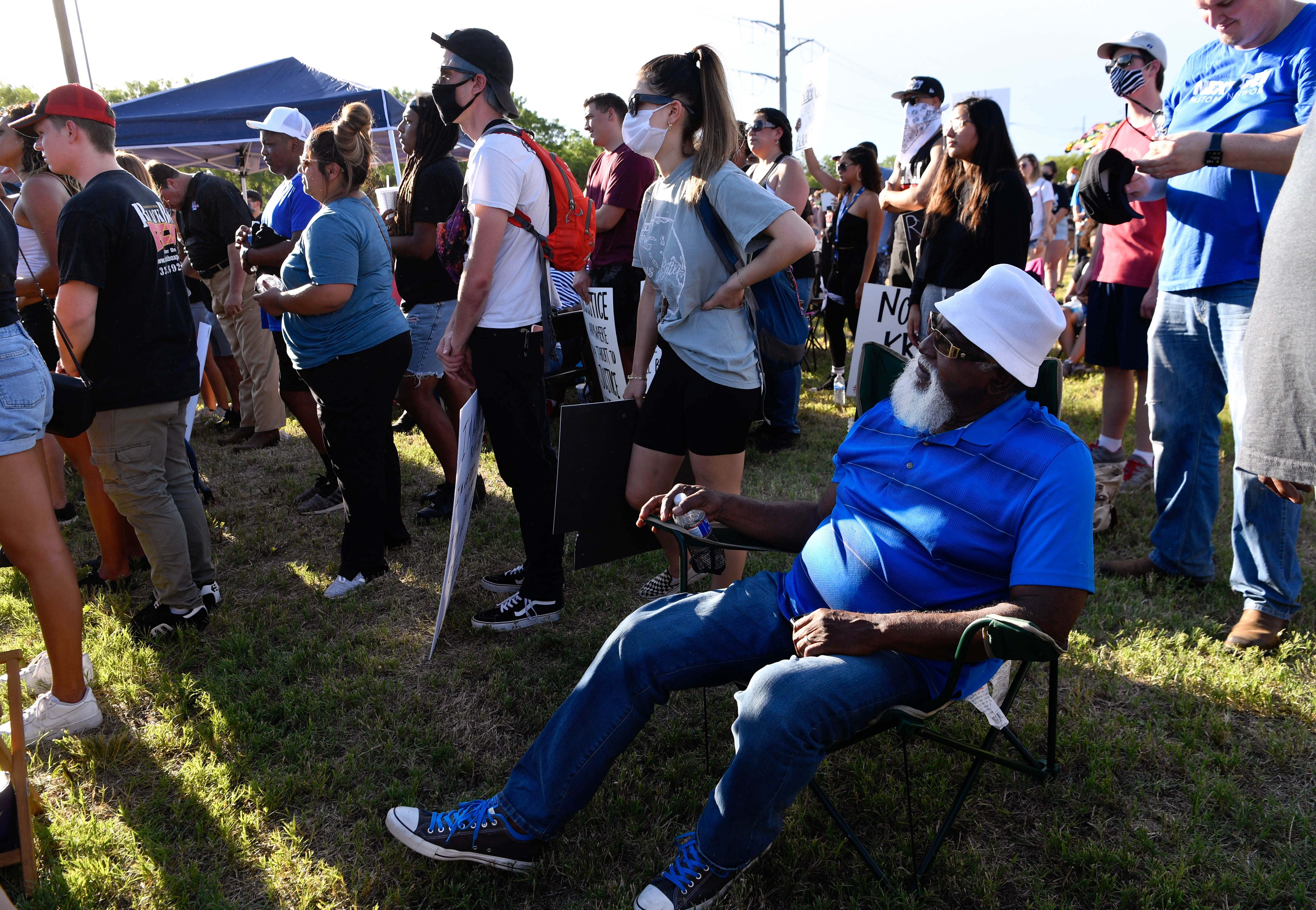 James Jones listens to the speakers during Thursday's rally June 4, 2020. At least 600 gathered in the park near the Martin Luther King Jr. sign on E. Highway 80 to protest racism and national acts of police brutality.