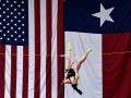 Kaydi Pursley, 18, practices her pole vaulting inside the warehouse of the Merkel grain elevator Wednesday April 15, 2020. The Merkel High School senior will attend Abilene Christian University in the fall.