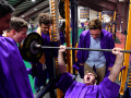 Brodey Baker facetiously yells as he lifts weight on a bench press in the Doghouse athletic building Friday at Wylie High School June 19, 2020. The 2020 graduating class retreated to the field house after a severe thunderstorm halted the evening's commencement ceremony.