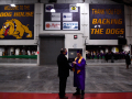 Wylie ISD Board President Steve Keenum shakes hands with senior Noah Perricone during a graduation ceremony in the Doghouse athletic building Friday June 19, 2020. Half of the evening's students opted for continuing commencement inside the Doghouse athletic building after a severe thunderstorm interrupted the ceremony on the football field.